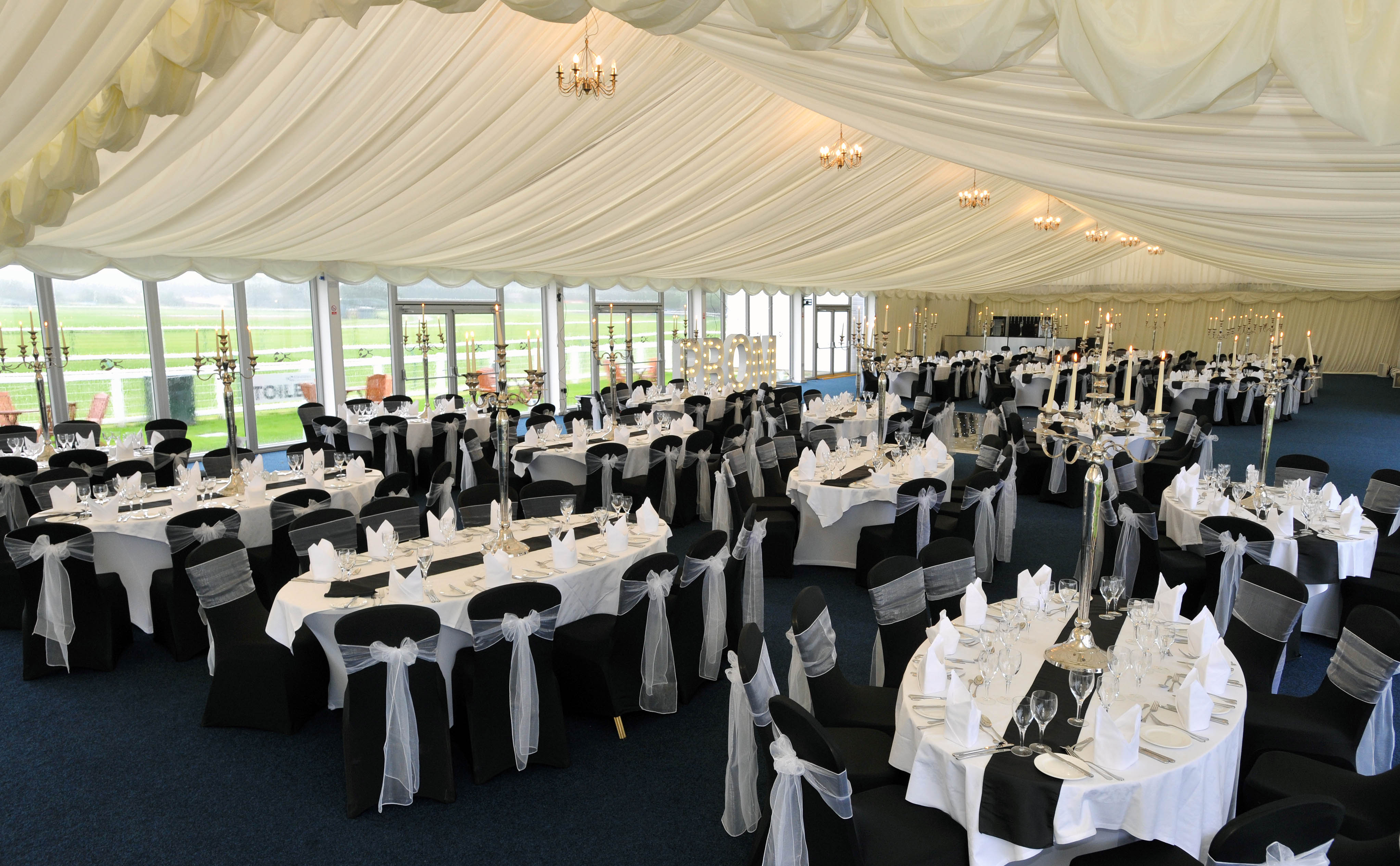 The amazing Paddock Lawn Marquee can be transformed to suit any theme.