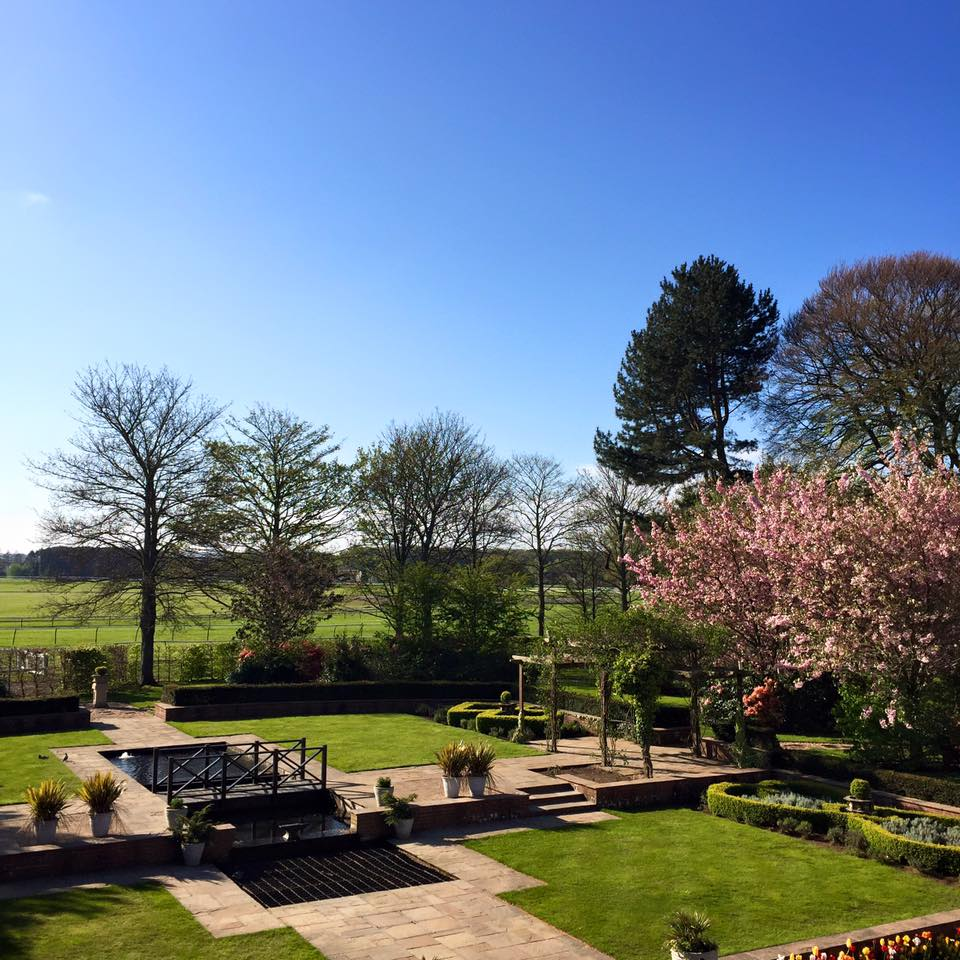 The beautiful view over our stunning gardens from the Honeymoon Suite